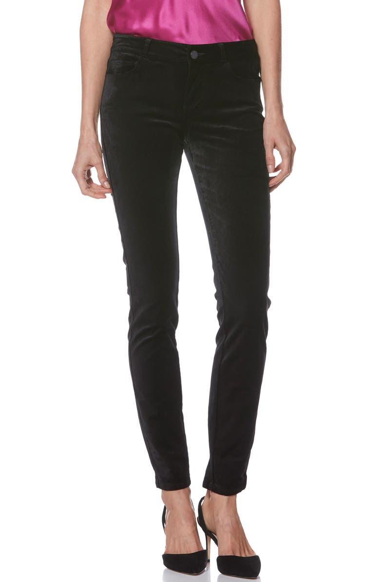 PAIGE Verdugo Ultra Skinny Velvet Pants, Main, color, BLACK OVER DYE