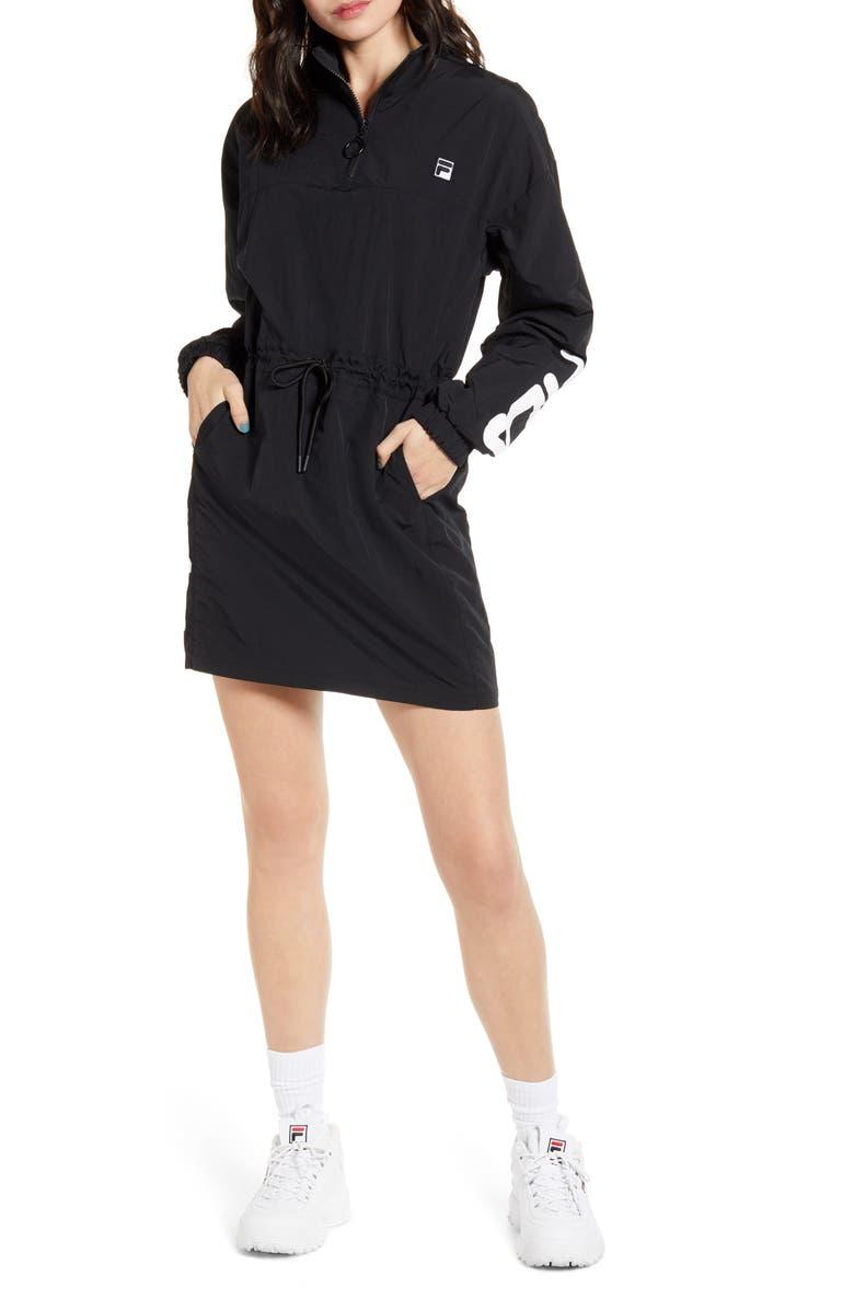 FILA Bijou Long Sleeve Windbreaker Minidress, Main, color, BLACK/ WHITE