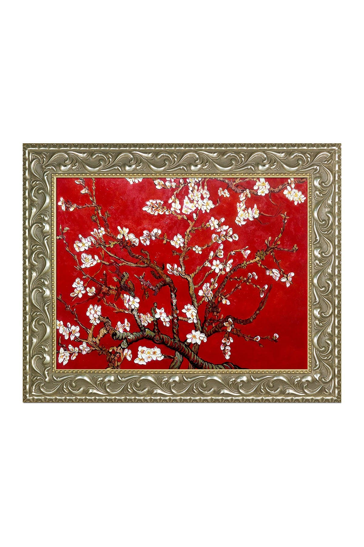 """Image of Overstock Art Branches of an Almond Tree in Blossom, Ruby Red Framed Oil Reproduction of an Original Painting by Vincent Van Gogh - 25""""x21"""""""