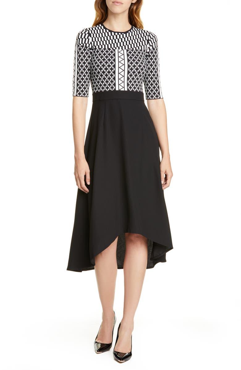 TED BAKER LONDON Mix Print Tulip Hem Dress, Main, color, BLACK