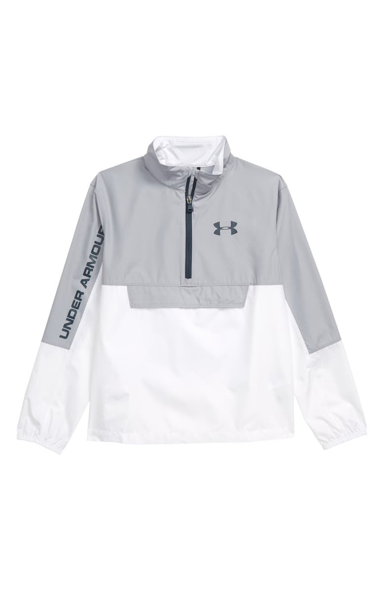 UNDER ARMOUR Colorblock Wind Resistant Anorak, Main, color, MOD GRAY/ WHITE