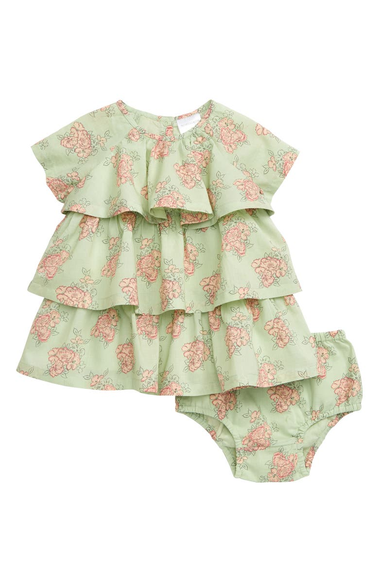 NORDSTROM BABY Print Tiered Dress, Main, color, GREEN HAMPTONS SKETCHY FLORAL