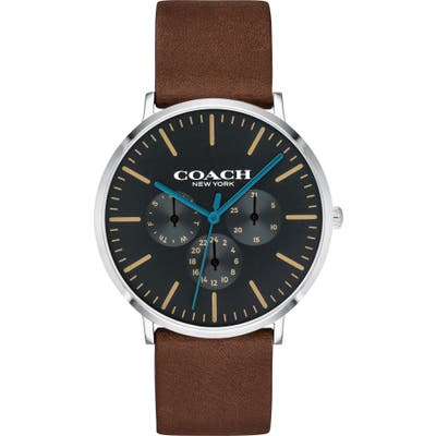 Coach Varick Multifunction Leather Strap Watch, 40Mm