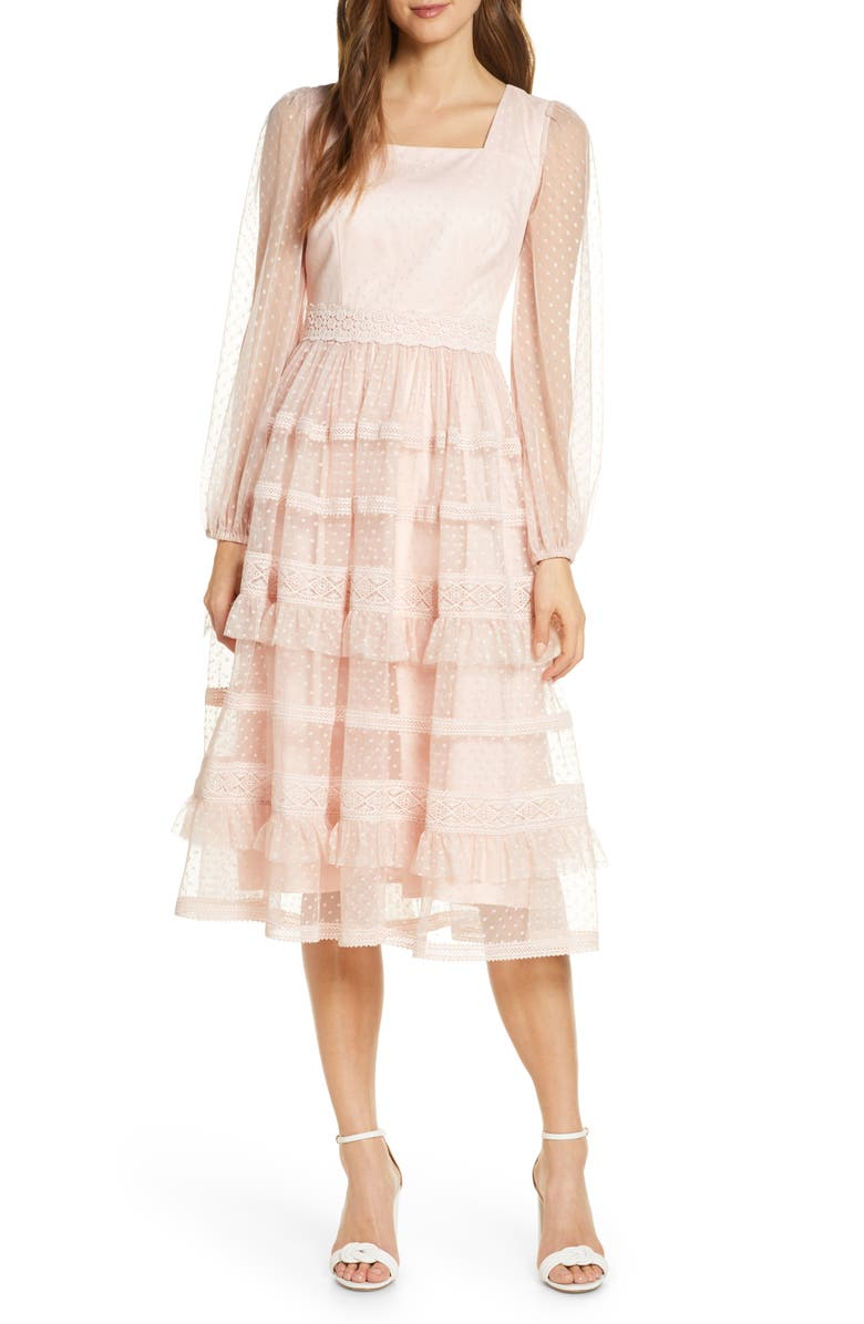 RACHEL PARCELL Tiered Ruffle Long Sleeve Lace Midi Dress, Main, color, PINK PEACH