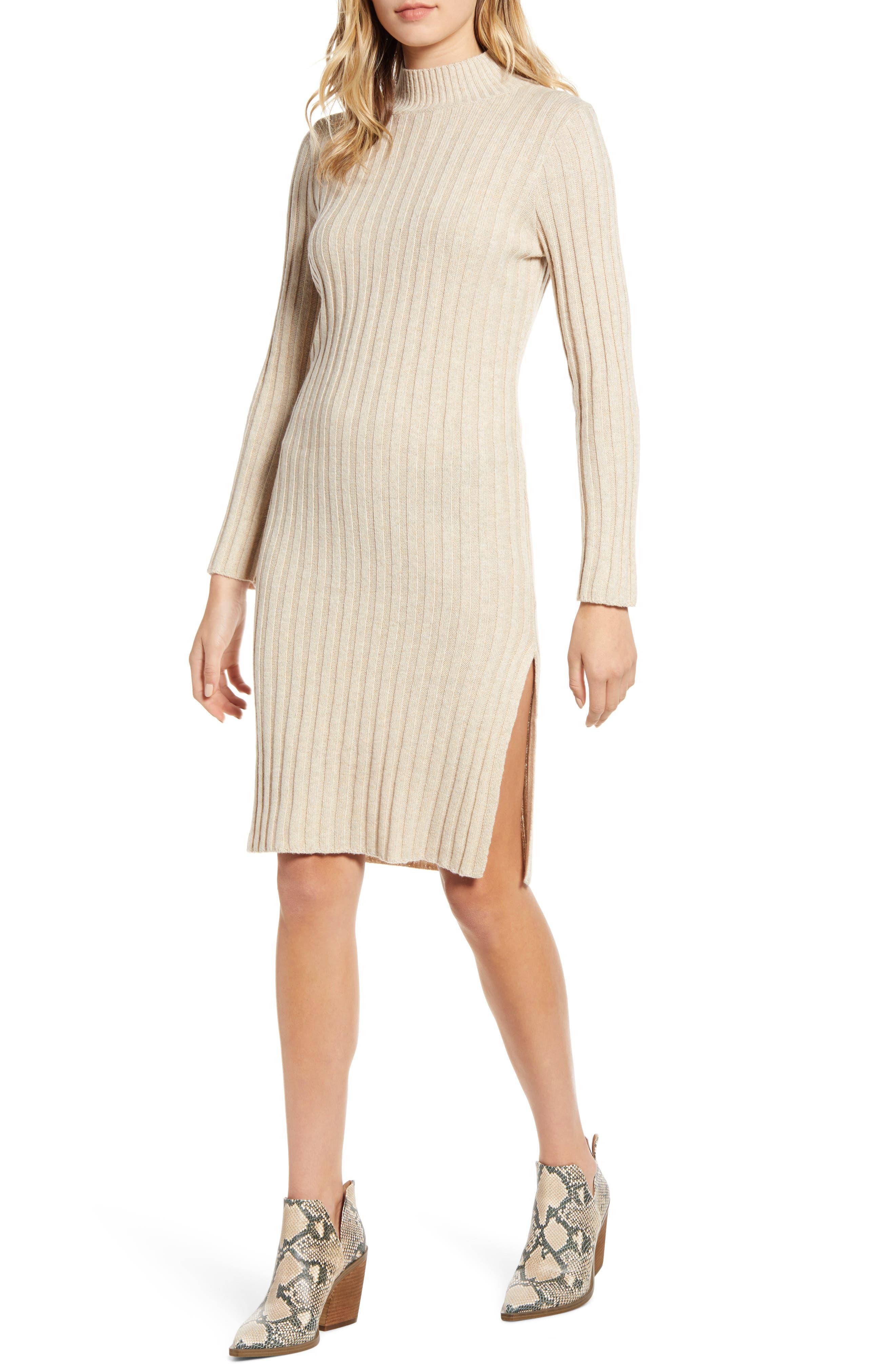 BP. Ribbed Long Sleeve Sweater Dress