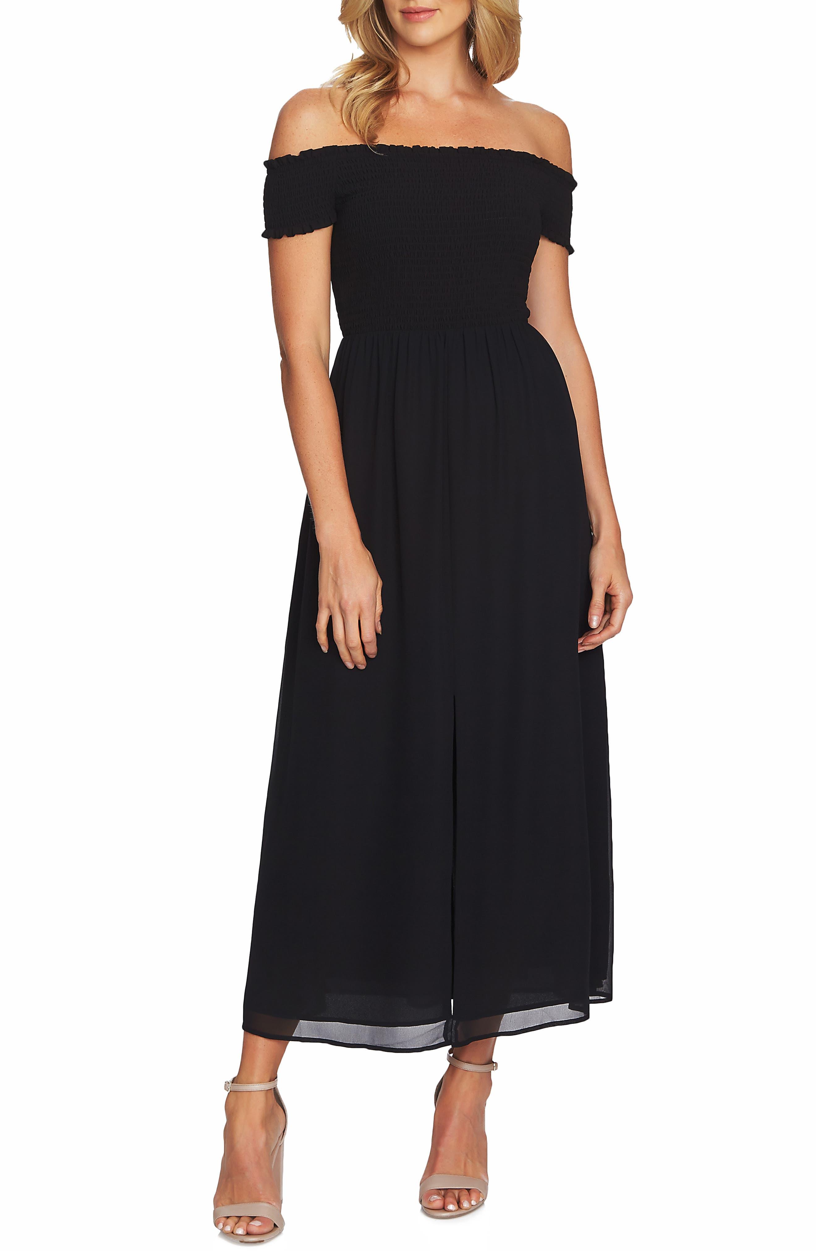 Off the Shoulder Smock Detail Maxi Dress, Main, color, 001