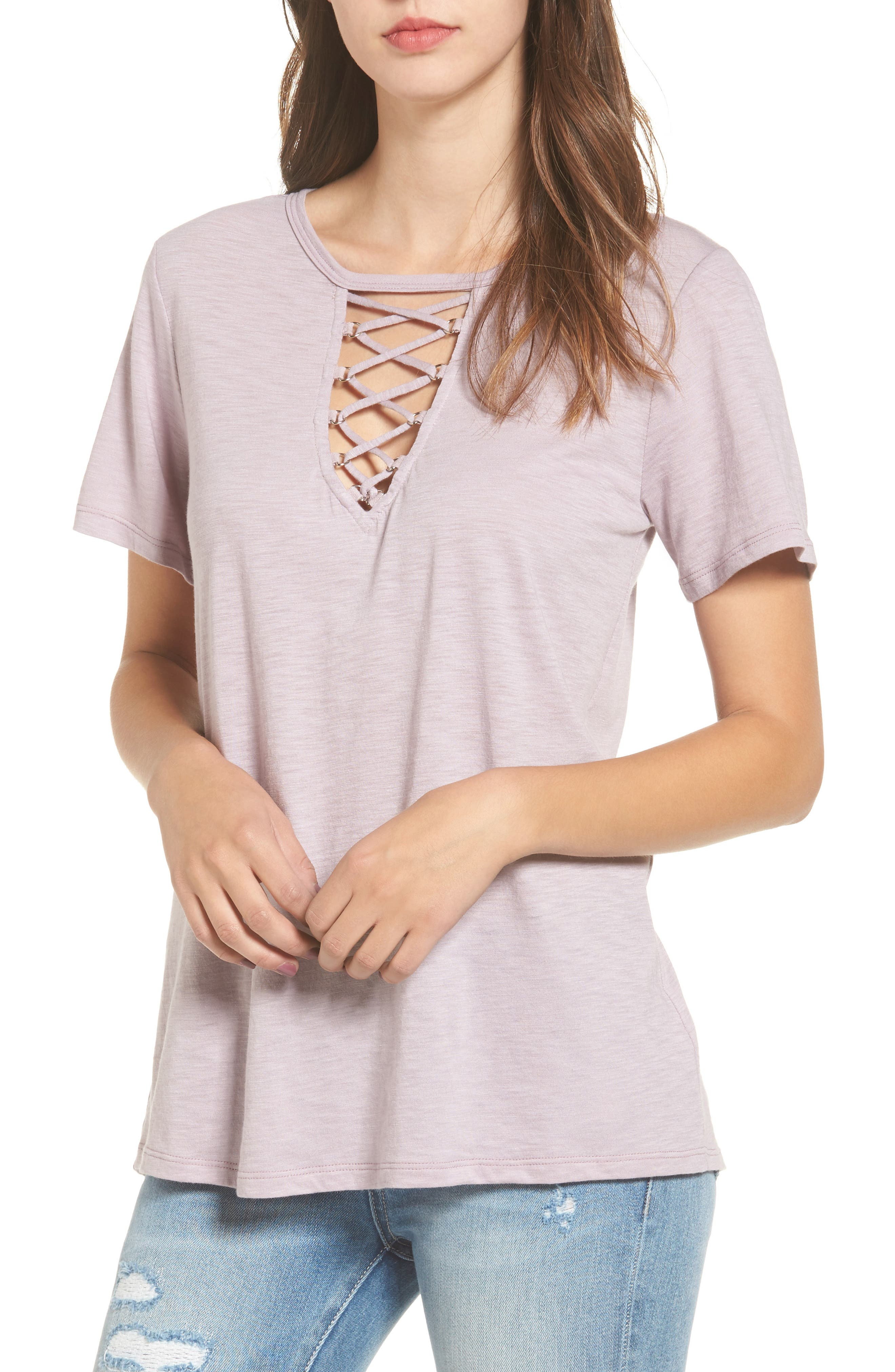 ,                             Grommet Lace-Up Tee,                             Main thumbnail 12, color,                             542
