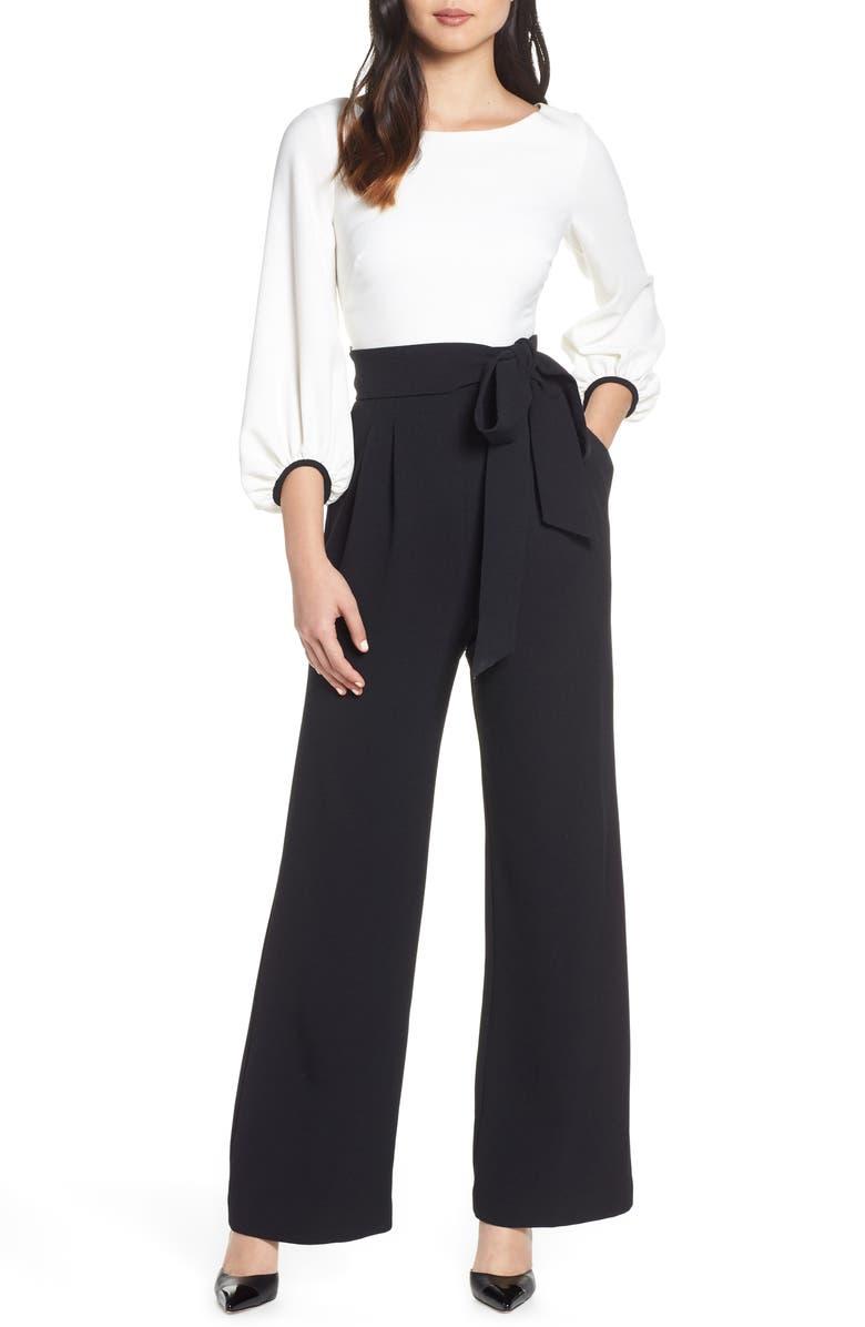 HARPER ROSE Colorblock Jumpsuit, Main, color, BLACK/ WHITE