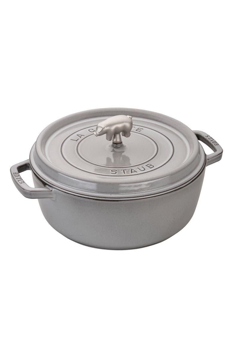 STAUB 6-Quart Shallow Round Enameled Cast Iron Cocotte, Main, color, 020