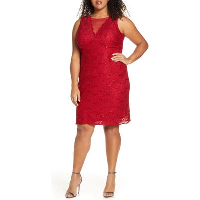 Plus Size Morgan & Co. Lace & Sequin Cocktail Dress, Red