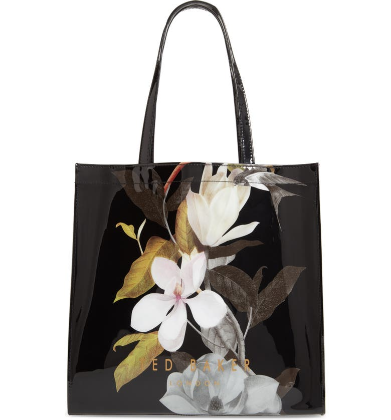 TED BAKER LONDON Large Rumacon Opal Icon Tote, Main, color, BLACK