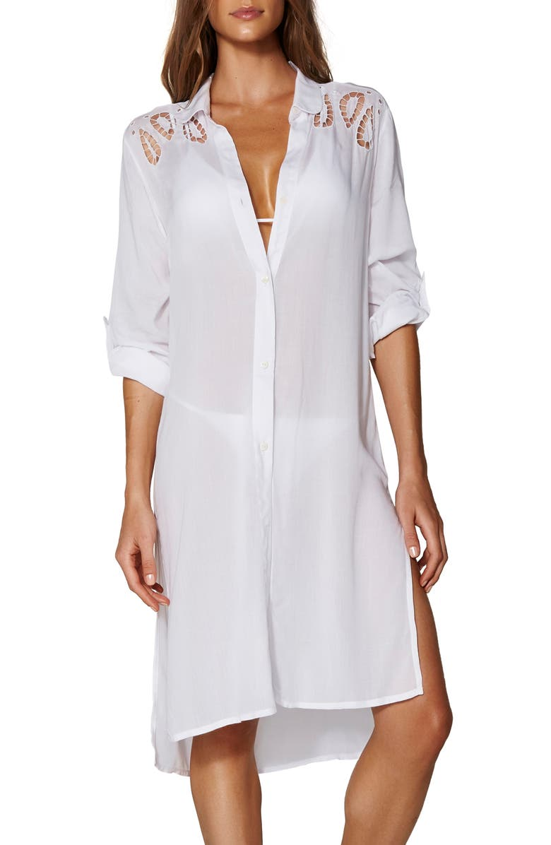 VIX SWIMWEAR Ada Embroidered Lace Cover-Up Shirtdress, Main, color, WHITE