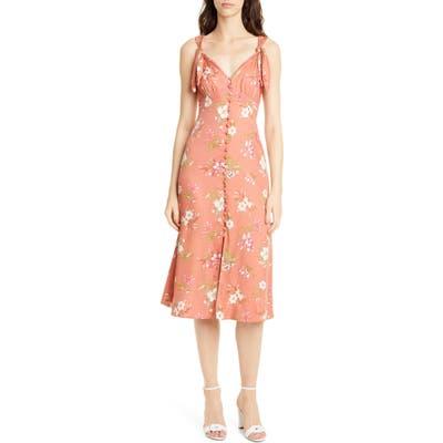 Rebecca Taylor Floral Lita Tie Detail Silk Blend Midi Dress, Orange