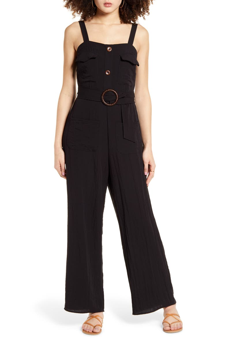 BAND OF GYPSIES Geneva Sleeveless Jumpsuit, Main, color, BLACK