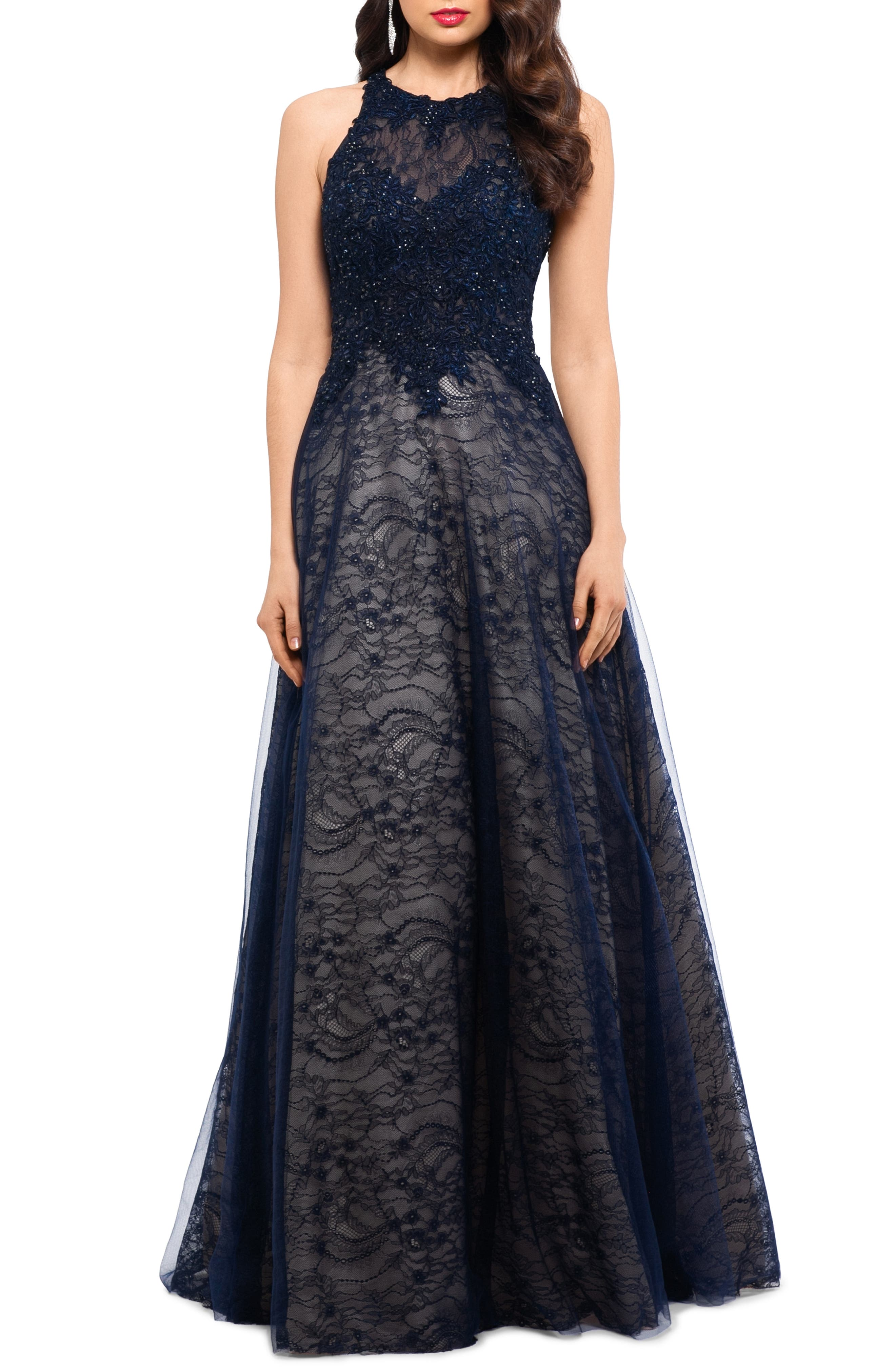 ,                             Sparkling Lace Evening Dress,                             Main thumbnail 1, color,                             NAVY
