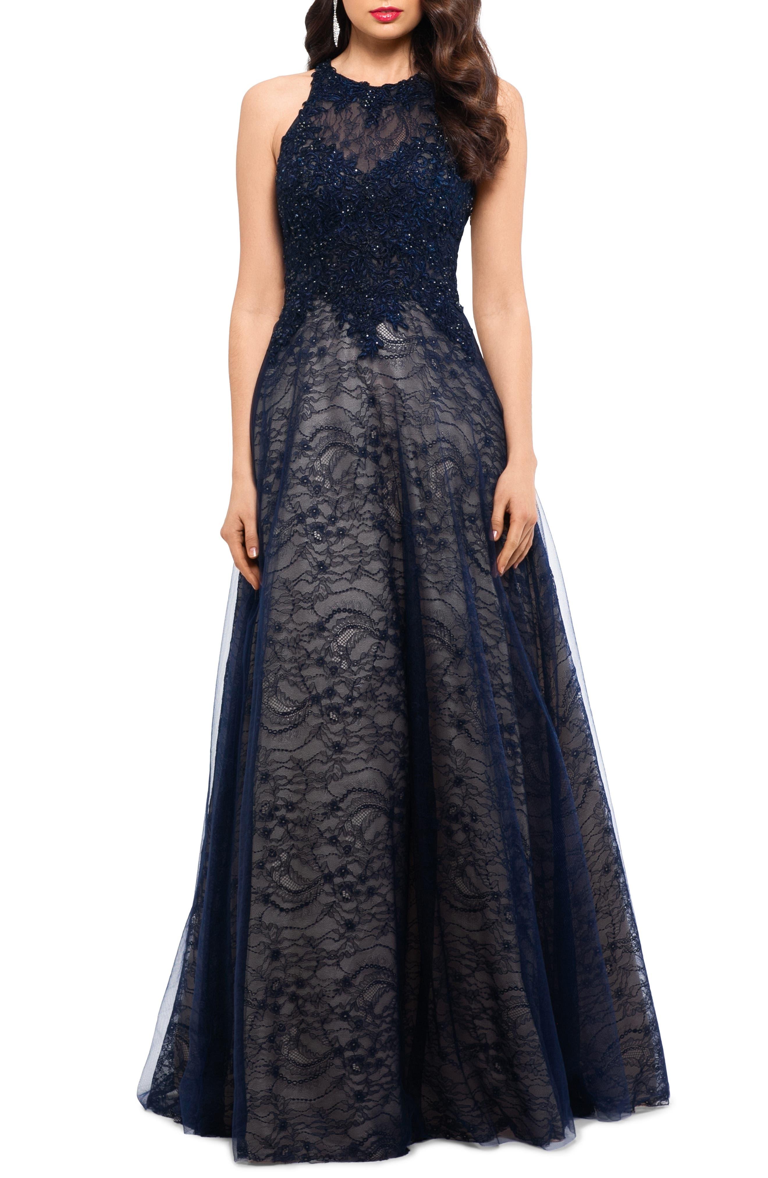 Sparkling Lace Evening Dress, Main, color, NAVY