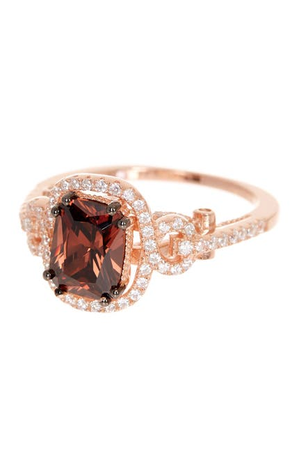 Image of Suzy Levian 14K Rose Gold Plated Sterling Silver Brown Chocolate CZ Ring
