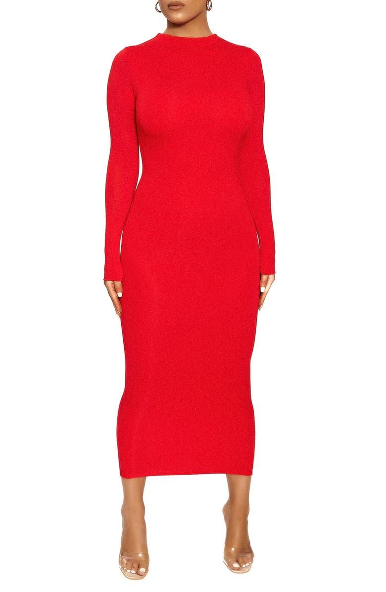 NAKED WARDROBE Long Sleeve Midi Pencil Dress, Main, color, RED