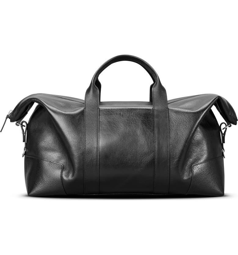 SHINOLA Signature Leather Duffle Bag, Main, color, 001