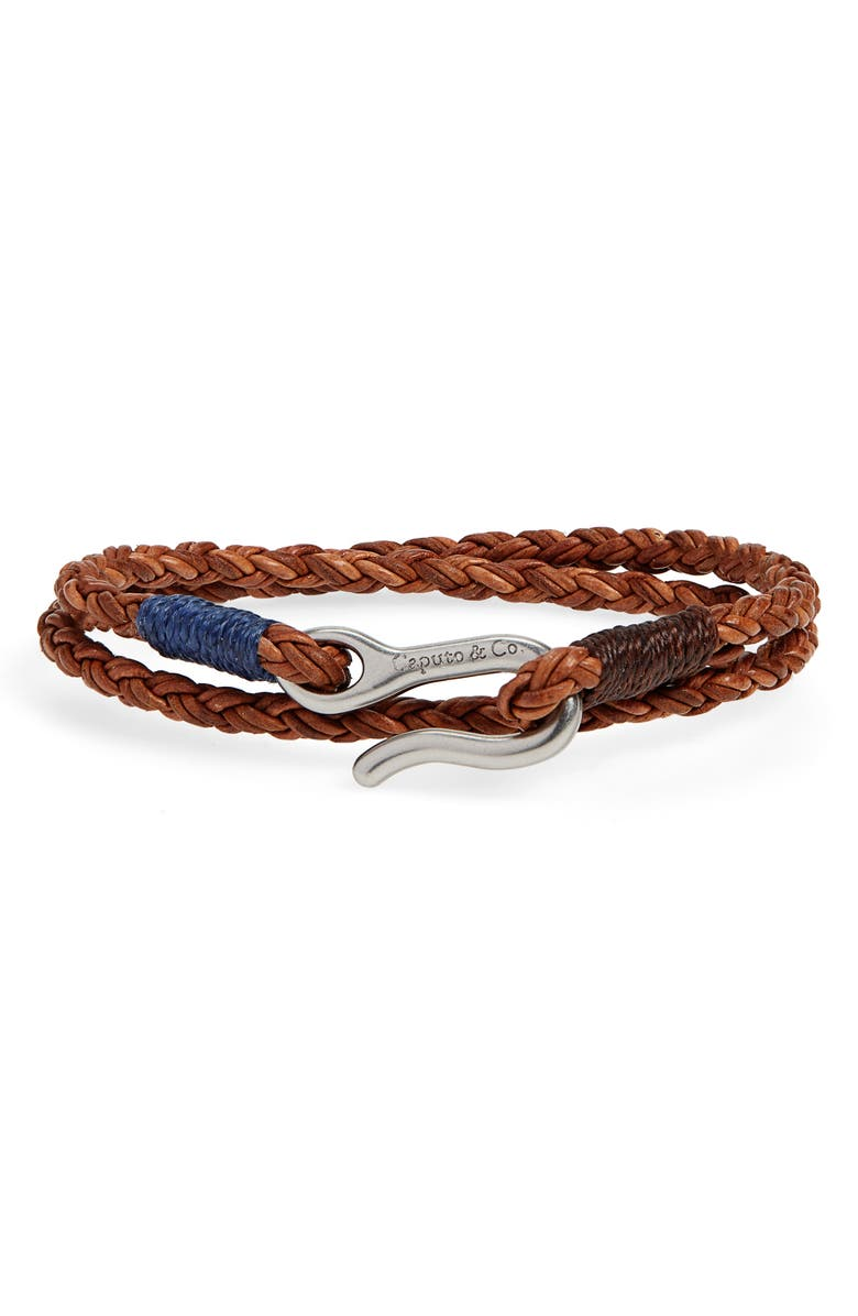 CAPUTO & CO. Braided Leather Bracelet, Main, color, LIGHT BROWN