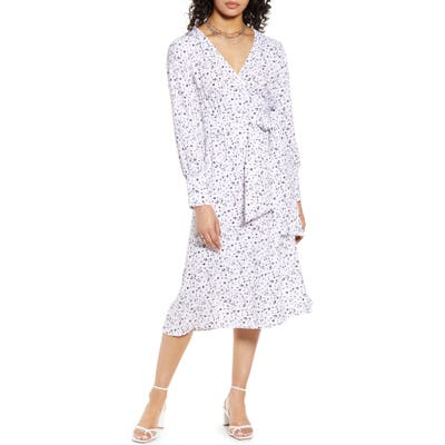 Petite Halogen Long Sleeve Wrap Midi Dress, Ivory