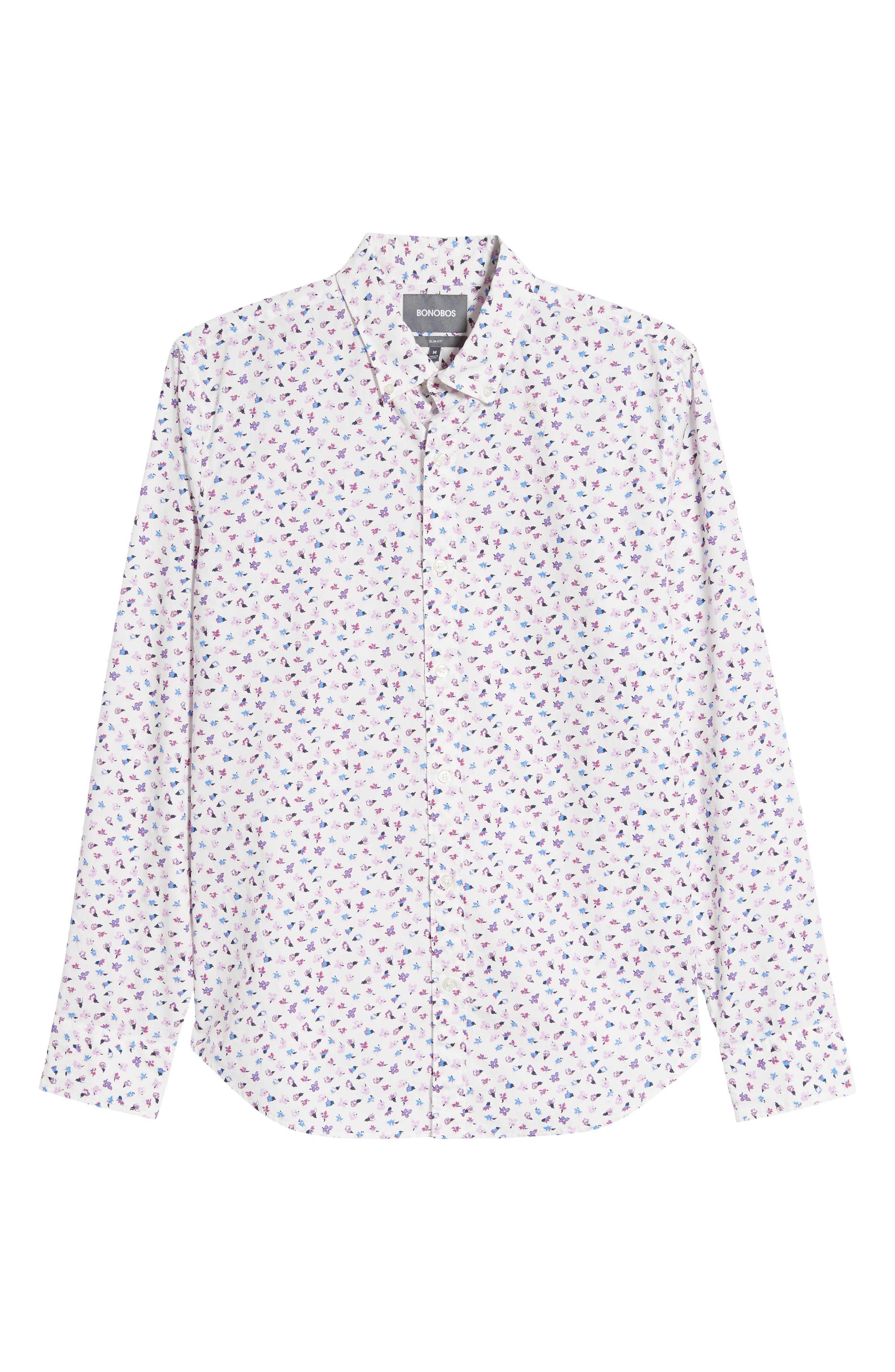 ,                             Washed Button Down Slim Fit Floral Print Sport Shirt,                             Alternate thumbnail 5, color,                             SMALL FLOWER SCATTER
