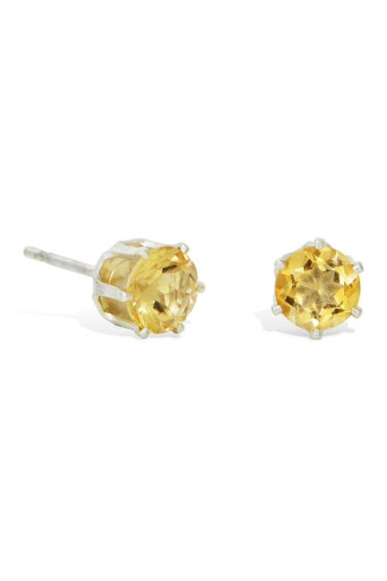 Image of Savvy Cie Sterling Silver Citrine Stud Earrings