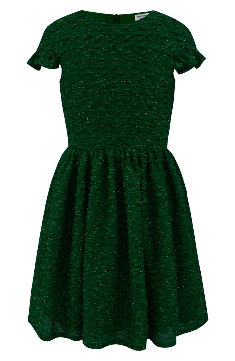 DAVID CHARLES Sparkle Bouclé Dress, Main, color, GREEN