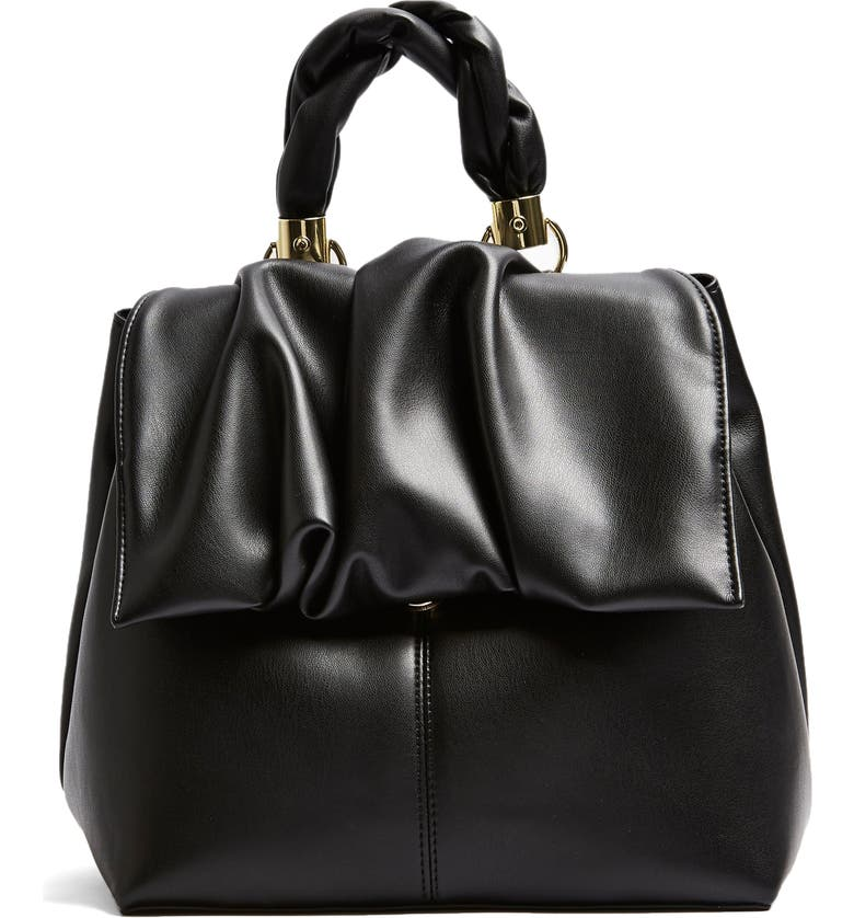 TOPSHOP Ruched Flap Backpack, Main, color, 001