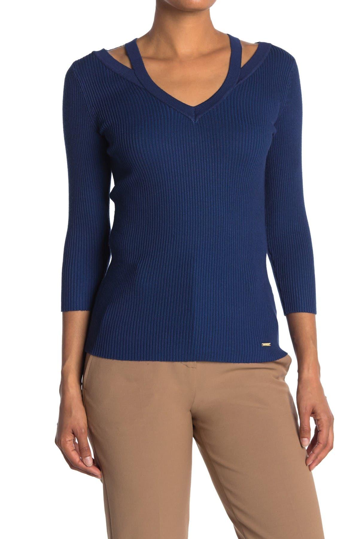 Image of T Tahari 3/4 Sleeve V-Neck Cutout Pullover