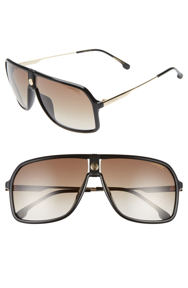 CARRERA EYEWEAR 64mm Navigator Sunglasses, Main, color, BLACK