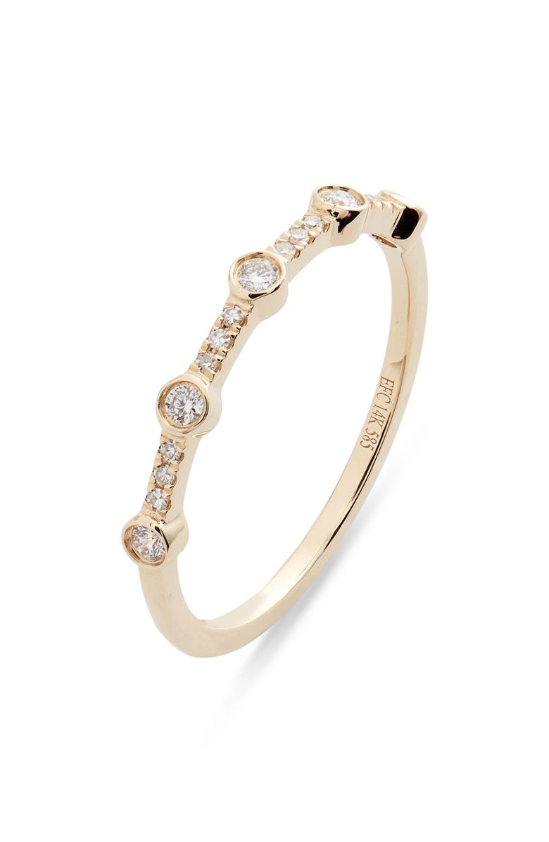 EF COLLECTION 5-Bezel Diamond Stack Ring, Main, color, YELLOW GOLD/ DIAMOND