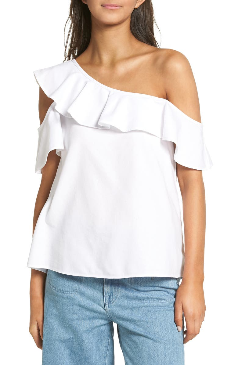 MADEWELL One Shoulder Ruffle Top, Main, color, 100