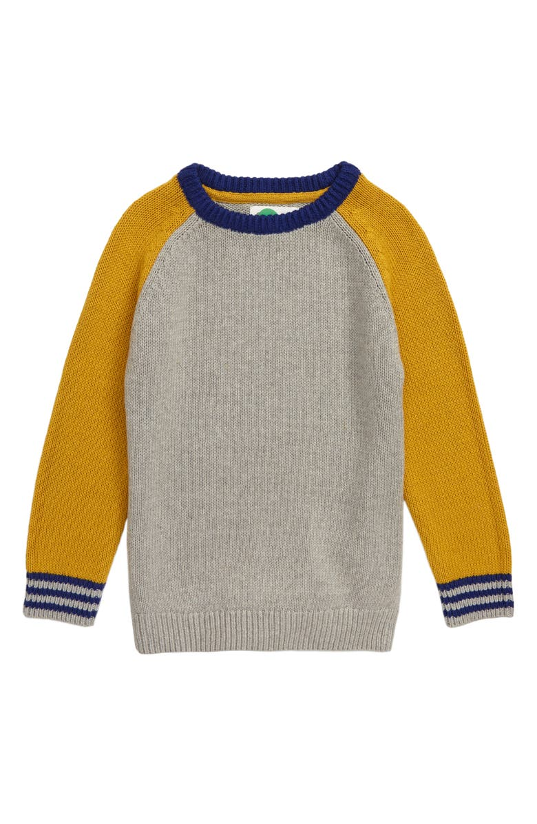 MINI BODEN Raglan Sleeve Colorblock Sweater, Main, color, 034