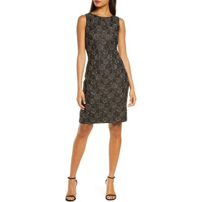 Donna Ricco Metallic Floral Brocade Cocktail Dress, Black