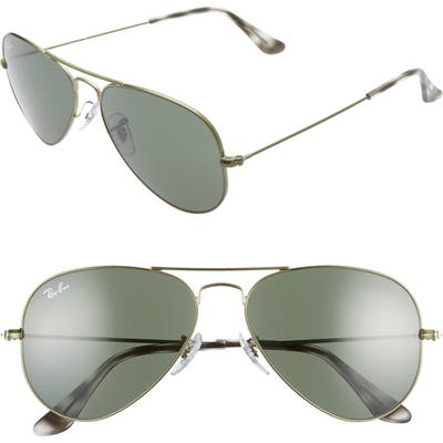 Ray-Ban Small Original 55Mm Aviator Sunglasses - Green/ Green Solid