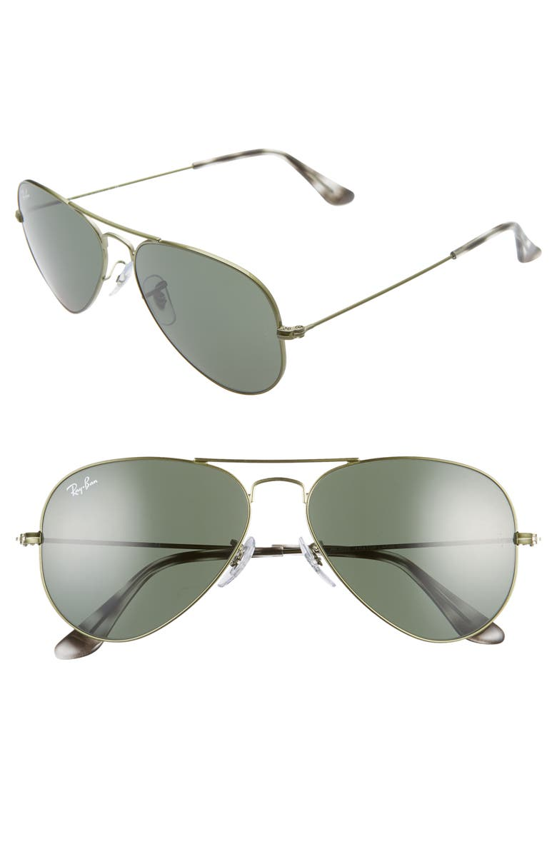 RAY-BAN Small Original 55mm Aviator Sunglasses, Main, color, GREEN/ GREEN SOLID