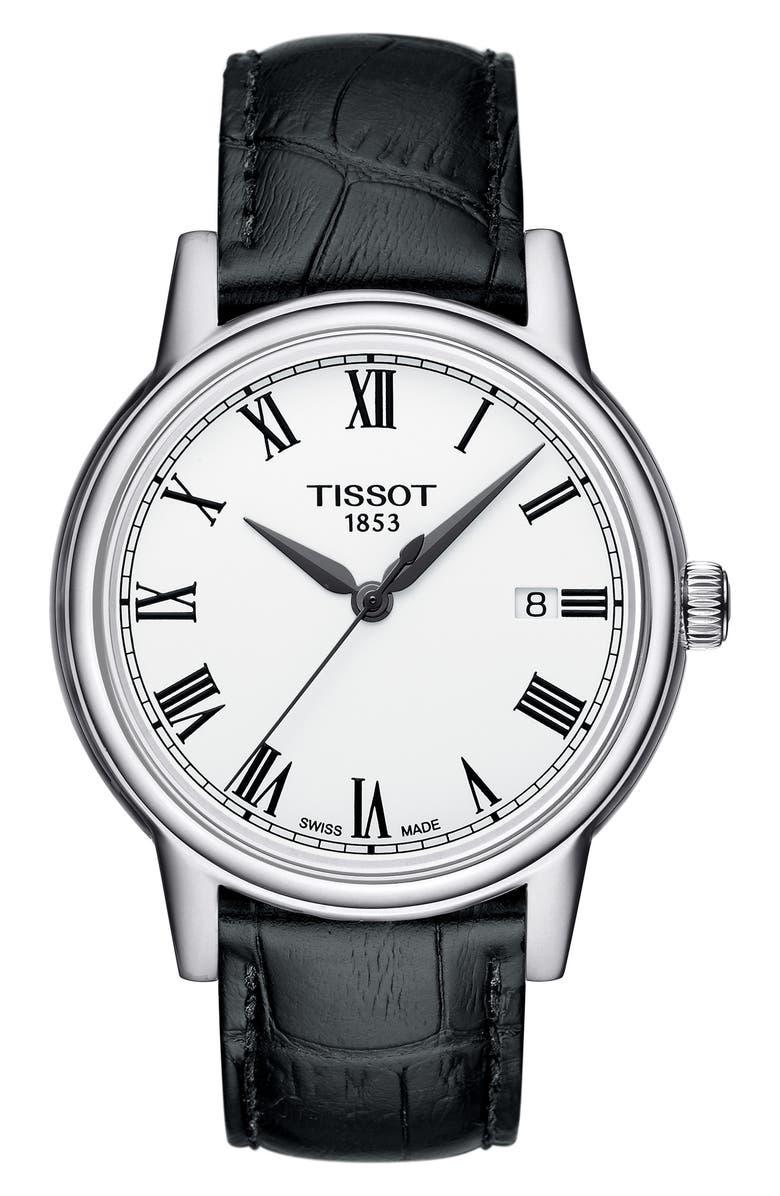 TISSOT Carson Leather Strap Watch, 39mm, Main, color, BLACK/ WHITE/ SILVER