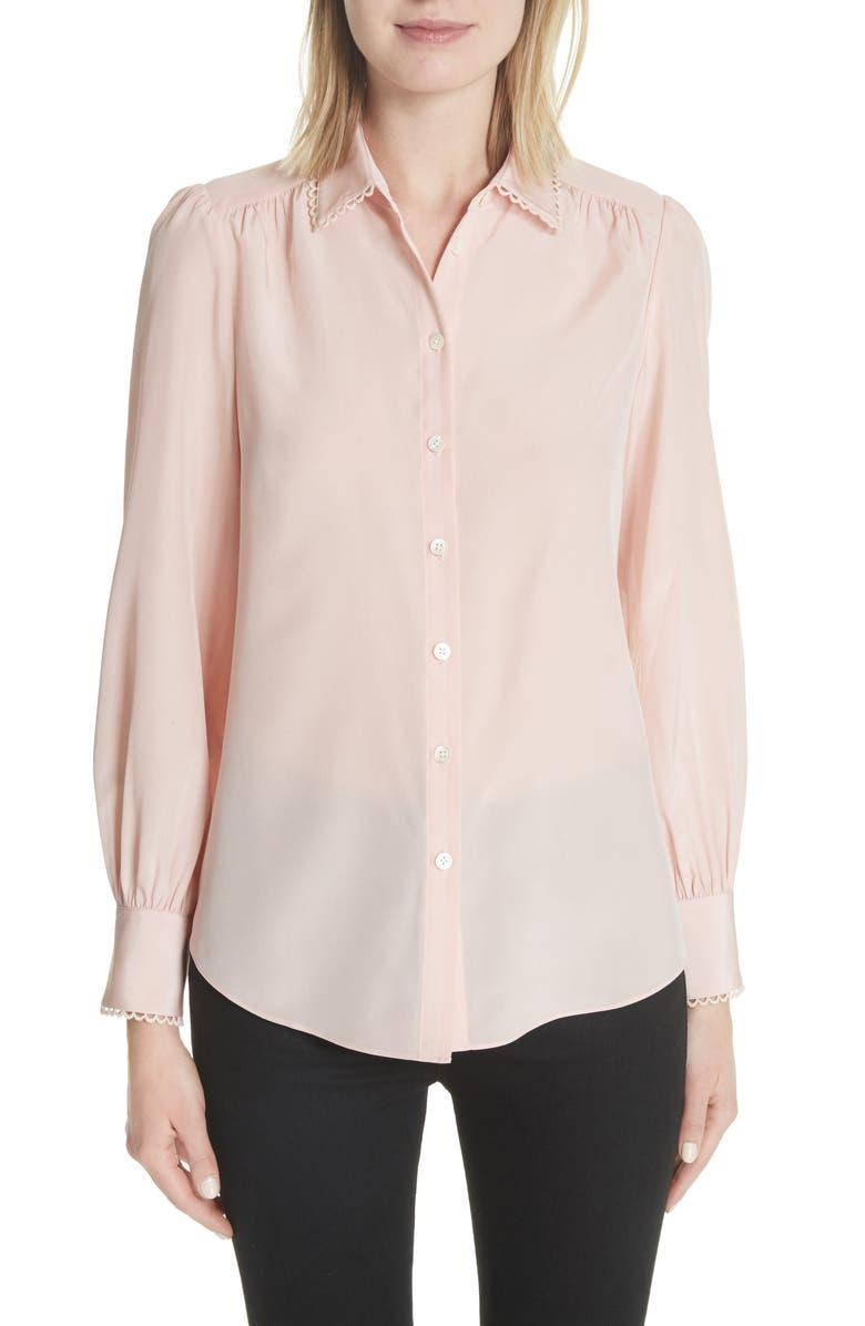 KATE SPADE NEW YORK scallop trim silk shirt, Main, color, CAMEO PINK