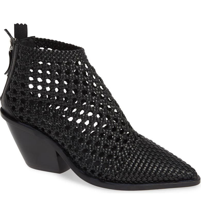 AGL Woven Western Bootie, Main, color, BLACK