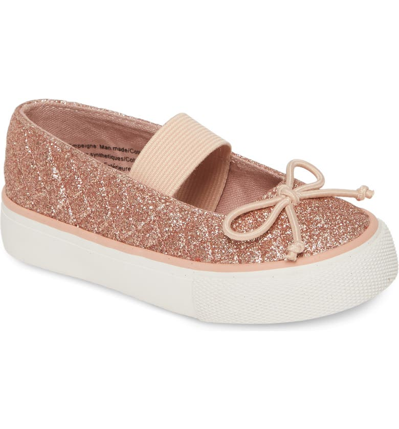 TUCKER + TATE Quilted Glitter Mary Jane Sneaker, Main, color, ROSE GOLD GLITTER PU
