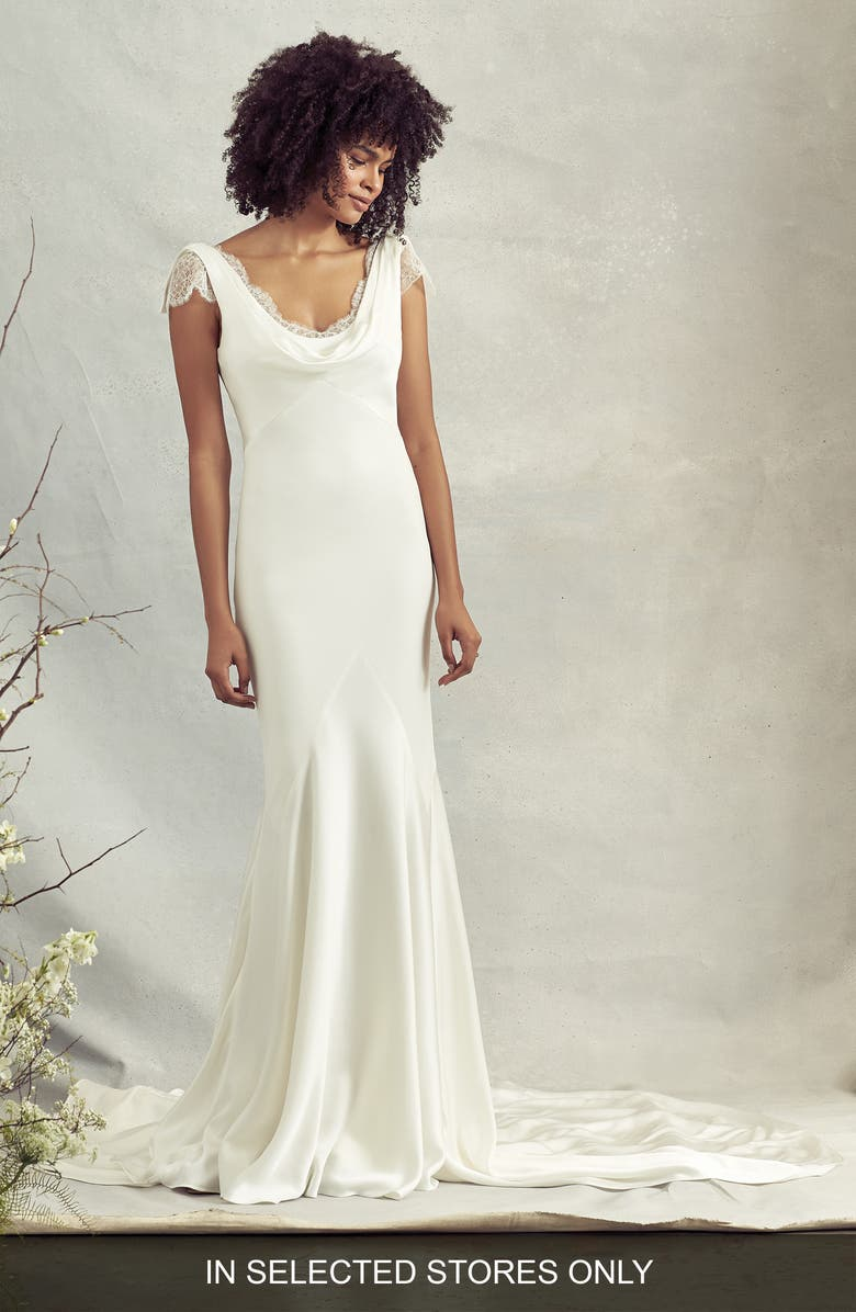 SAVANNAH MILLER Rae Cowl Neck Crepe Trumpet Wedding Dress, Main, color, 900
