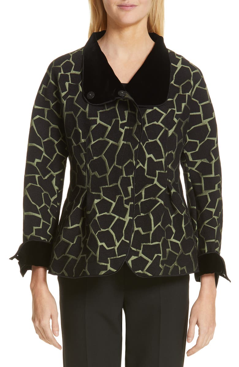EMPORIO ARMANI Abstract Jacquard Peplum Jacket, Main, color, BLACK/ LODEN