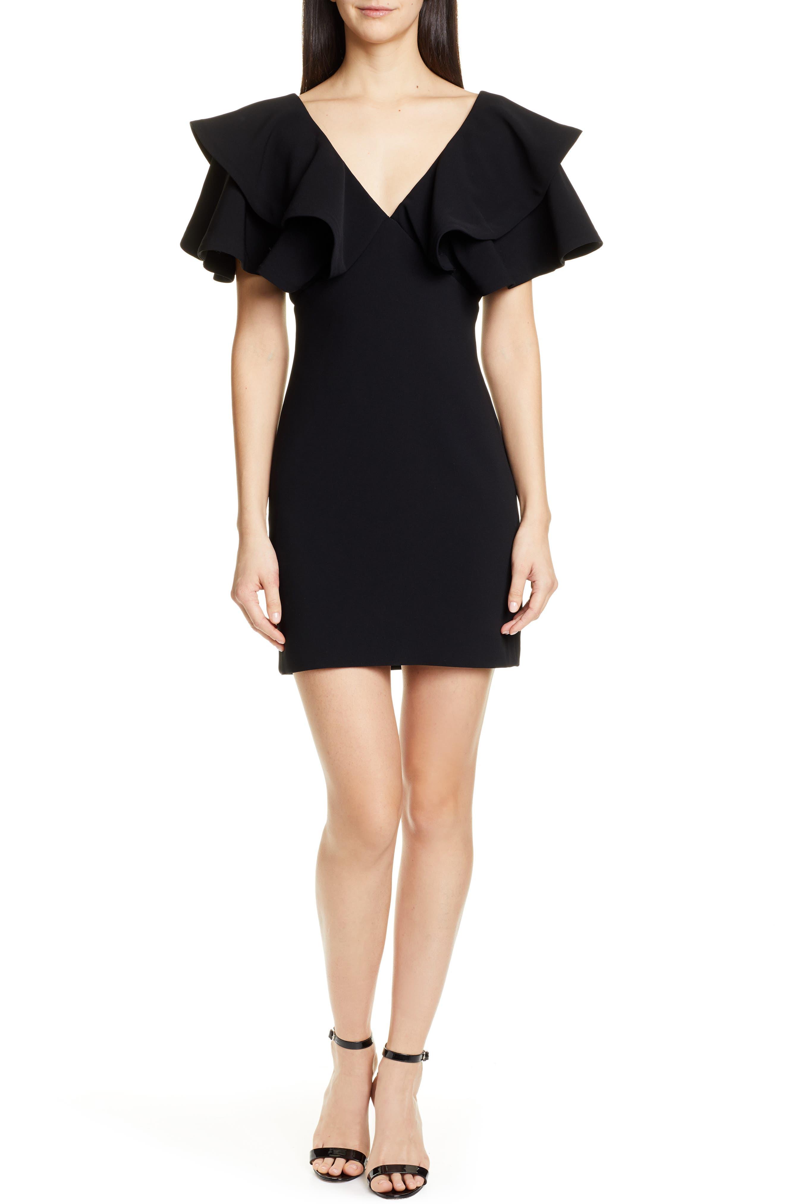 Cinq A Sept Ambrose Ruffle Sleeve Minidress, Black