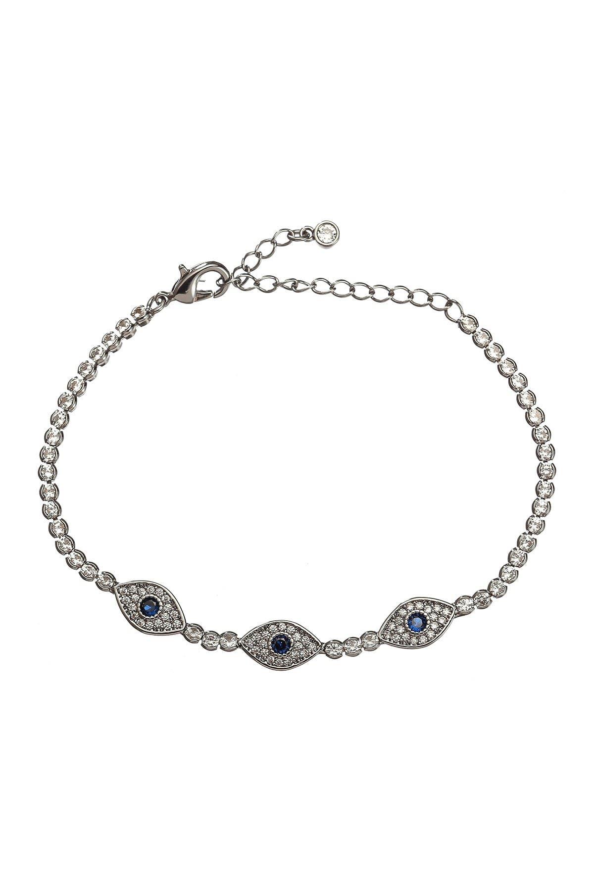 Image of Eye Candy Los Angeles Sami Silver Triple Evil Eye CZ Crystal Charm Bracelet