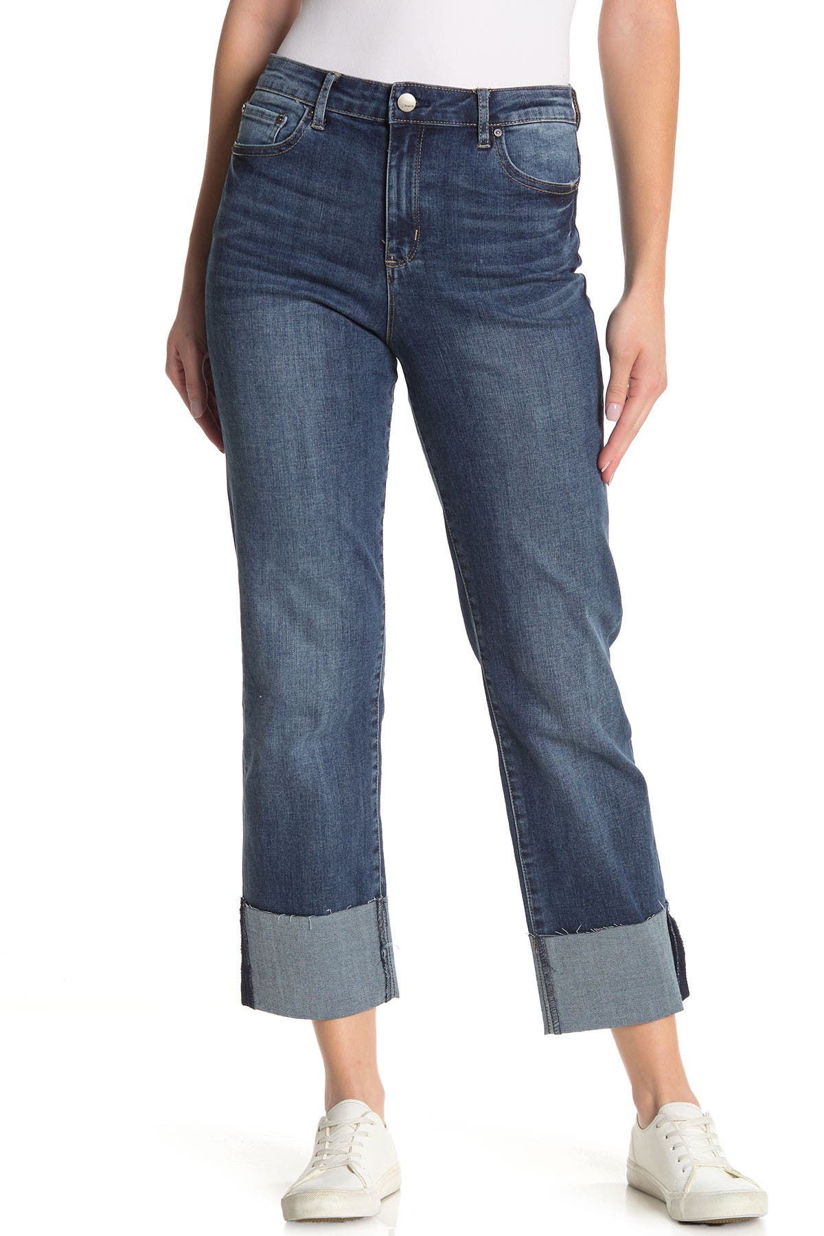 Image of Tractr High Rise Cuffed Crop Jeans