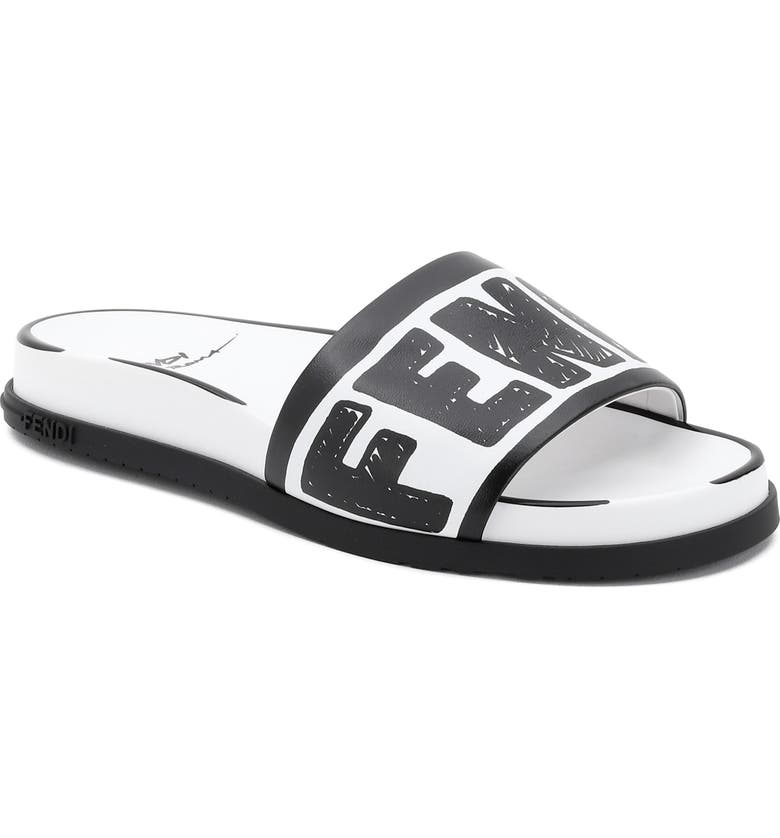 FENDI x Joshua Vides Logo Slide Sandal, Main, color, WHITE