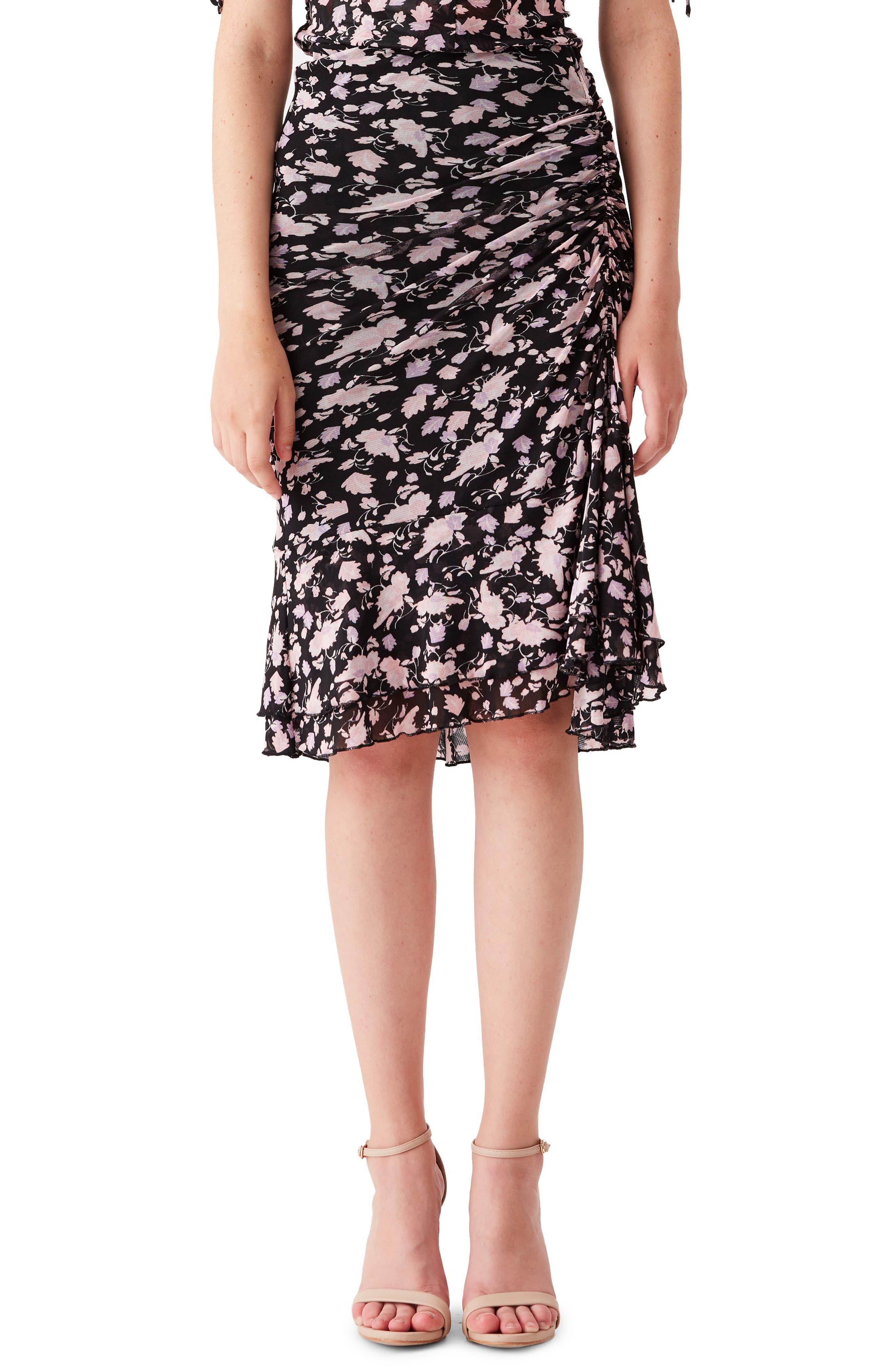 Alina Floral Ruched Mesh Skirt
