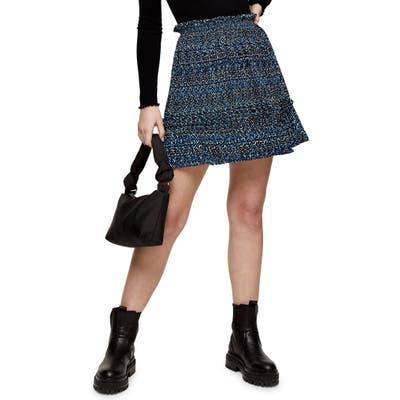 Topshop Crystal Animal Print Miniskirt, US - Blue