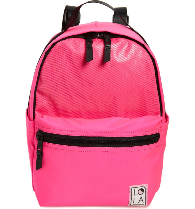 LOLA LOS ANGELES Starchild Medium Backpack, Main, color, LASER PINK